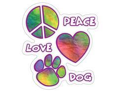 "Peace Love Dog - 3"" Sticker"