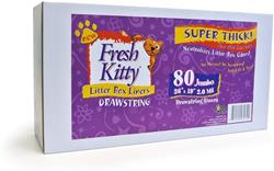 Bulk Litter Box Liners - Fresh Kitty Super Thick, Durable, Easy Clean Up Jumbo Drawstring Scented Litter Pan Box Liners - 80 ct