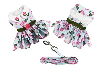 Pink Rose Dress with D-Ring and Matching Leash