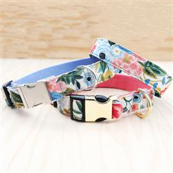Garden Party Floral Canvas Dog Collar w Rifle Paper Co. Fabric