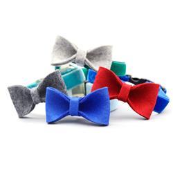 Wool Felt Dog Collar Bow Tie
