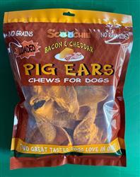 10 Pack Bacon & Cheddar Loaded Pig Ears In Pegable Zip Lock Bag