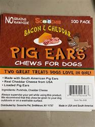100 Pack Bacon & Cheddar Loaded Pig Ears Bulk Box With Color Label