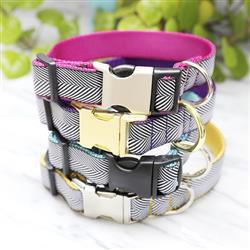 Black & White Herringbone Ribbon Dog Collar