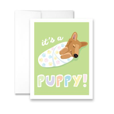 It's a Puppy! (blank) Greeting Card - Pack of 6 cards