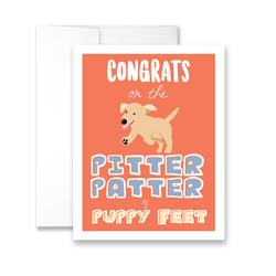 Congrats on the Pitter Patter of Puppy Feet! (blank) Greeting Card - Pack of 6 cards