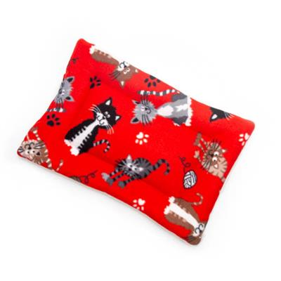 Cats on Red Printed Fleece Fabric Flat Pet Bed