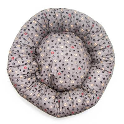 Gray Paws in Hearts Cotton Fabric Round Pet Bed