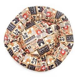 Light Khaki Collage Cotton Fabric Round Pet Bed
