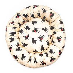 Light Khaki Dogs and Bones Cotton Fabric Round Pet Bed