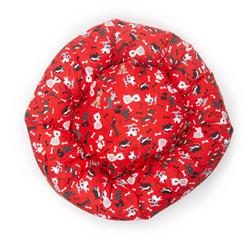 Tossed Dogs on Red Cotton Fabric Round Pet Bed