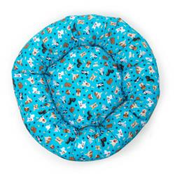 Tossed Dogs on Teal Cotton Fabric Round Pet Bed