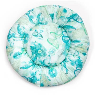 Teal Floral Cotton Fabric Round Pet Bed