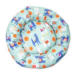 Llama Cotton Fabric Round Pet Bed
