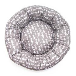 Gray Silhouette Cotton Fabric Round Pet Bed