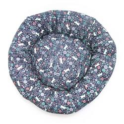 Navy Cats in Garden Cotton Fabric Round Pet Bed