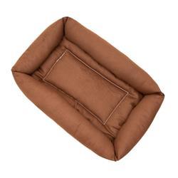 Brown Denim Fabric Bumper Pet Bed