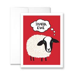 Thank Ewe (Sheep) (blank) Greeting Card - Pack of 6 cards