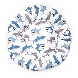 Sharks Cotton Fabric Round Pet Bed