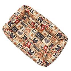 Light Khaki Collage Cotton Fabric Bumper Pet Bed