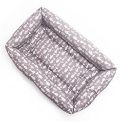 Gray Silhouette Cotton Fabric Bumper Pet Bed