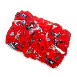 Cats on Red Printed Fleece Fabric Blanket Pet Bed