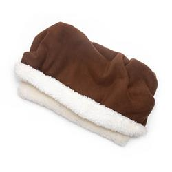 Brown Solid Fleece Fabric Pocket Pet Bed