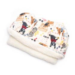 Sketched Dogs on Tan Printed Fleece Fabric Pocket Pet Bed