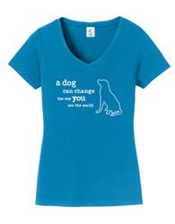 T-shirt: A Dog Can Change the Way You See the World, Women's (Sapphire)