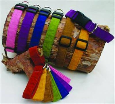 Hemp Corduroy Collar, Leashes, Harnesses RED