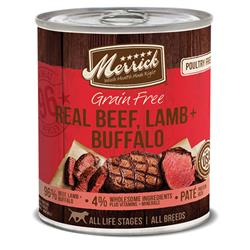 MERRICK DOG GRAIN FREE 96% BEEF LAMB & BUFFALO 12.7OZ (Case of 12)