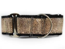 Monty Metallic Rose Gold Extra Wide Martingale Dog Collar