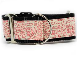 Love Notes Extra Wide Martingale Dog Collar