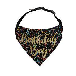 Birthday Dog Bandana   Birthday Boy Black - Over the Collar Style in 5 Sizes    BUY 10 GET 1 FREE