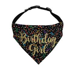 Birthday Dog Bandana | Birthday Girl Black - Over the Collar Style in 5 Sizes |  BUY 10 GET 1 FREE