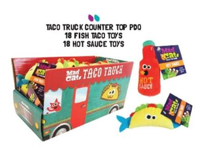 MAD CAT TACO TRUCK 36 PIECE PDQ COUNTER DISPLAY WITH CAT TOYS (JUST $1.50 EA TOY)