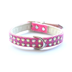 Charlotte Double Row Vegan Dog Collar_Bubblegum