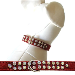 Diva Red Ultrasuede Charlotte Double Row Collars