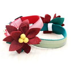 Poinsettia Holiday Dog Collar Flower