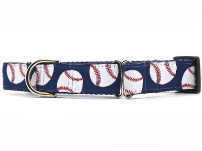 Baseball Medium Width Martingale Dog Collar