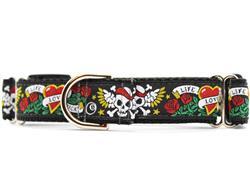 Wild One Black Medium Width Martingale Dog Collar