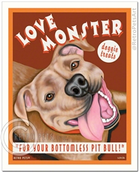 Love Monster Doggie Treats (Pit Bull Terrier) For Your Bottomless Pit Bull - Brown
