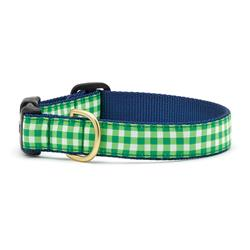 Lime Gingham Dog Collection on Navy Webbing