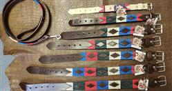 (7) Argentinian Leather Dog Collars (1) Leash, Hand Made Embroidered