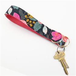'Fleur' Midnight  Rifle Paper Co Wristlet Key Fob