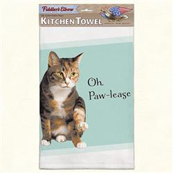 Oh, Paw-Lease Funny Cat Kitchen Towel
