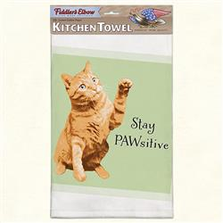 Stay Pawsitive Funny Cat Kitchen Towel