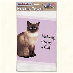 Nobody Owns a Cat Funny Cat Kitchen Towel