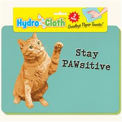 Hydro Cloth Funny Cat Dishcloths | Set of 2 | Eco-Friendly Dish Cloths | Paper Towel Replacements (Stay Pawsitive)