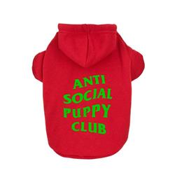 Anti Social Social Pup Hoodie - Red & Green | Dog Clothing